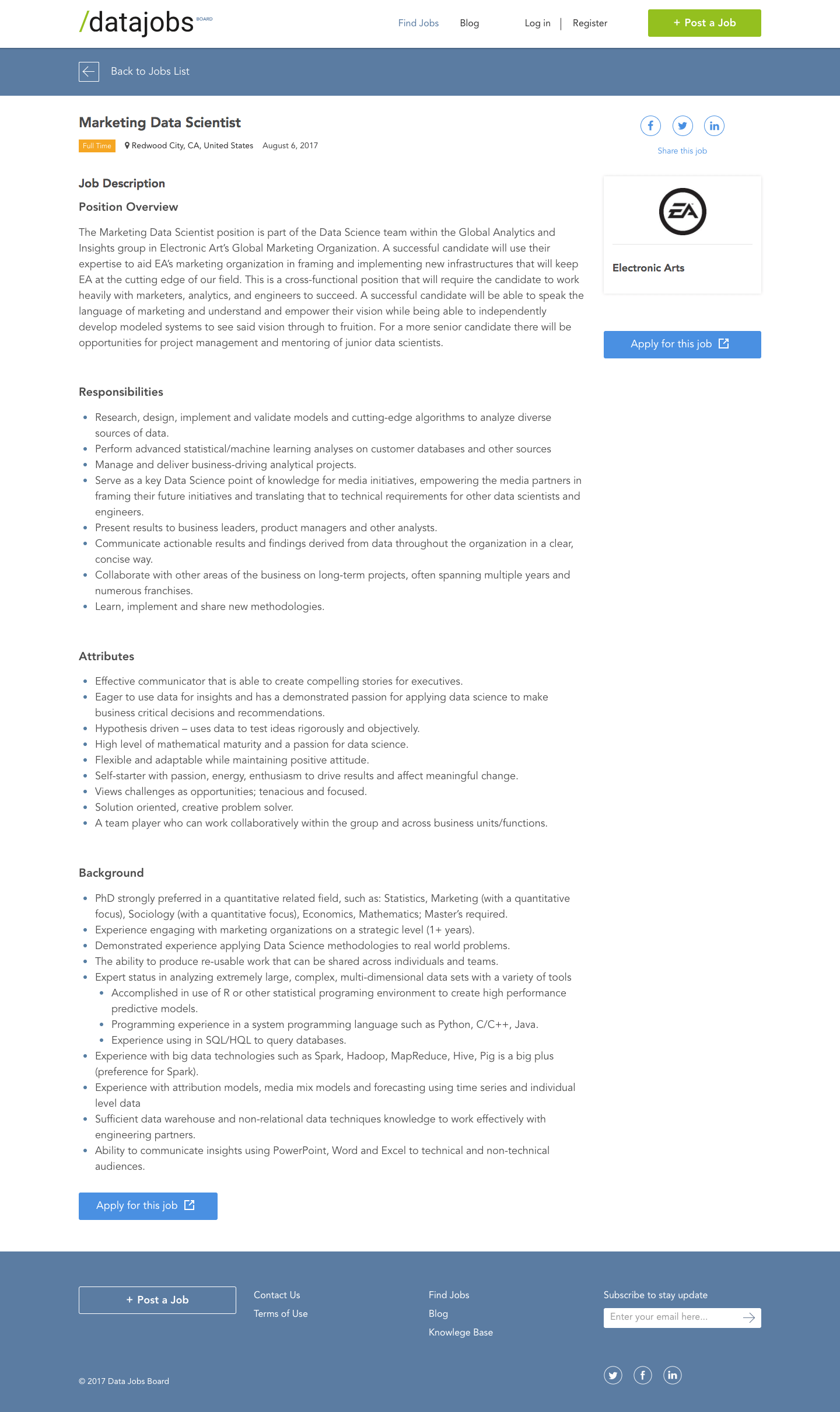 Job board «Datajobsboard»